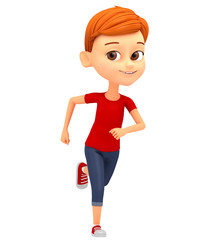 Cheerful boy isolated on white background running. 3d rendered i