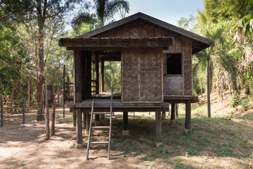 Traditional Thai rustic wooden house in forest,Thai style wooden