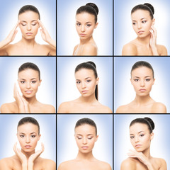 Spa collection of photos with beautiful brunette over blue background.