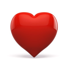 3d red heart on white background
