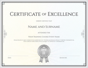 Certificate template in vector for achievement graduation comple