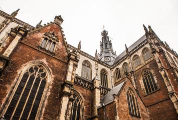 NETHERLANDS, HAARLEM - OCTOBER 26, 2015: Big ancient church in Haarlem. Holland.