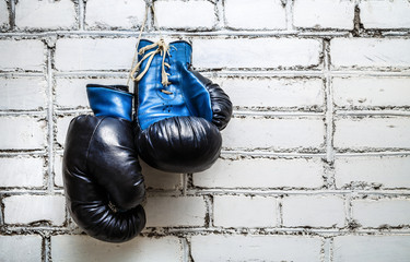 Fototapeta Pair of old blue boxing gloves hanging on white brick wall background. obraz