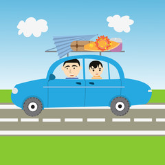 illustration of family vacation. cars of happy family of parent and his children smiling because they going in vacation to the beach. the cars if full of stuff like surfboard, ombrelle and baggage.