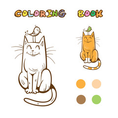 Coloring book with cute cartoon cat and bird. Vector image.
