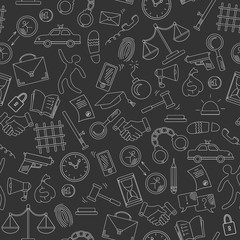 Seamless pattern with hand drawn icons on the theme of law and crimes, a bright outline on a dark background