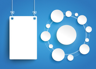 Wall Mural - White Hanging Paper Board Circles Network