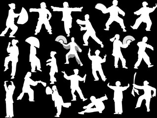 twenty different fighter white silhouettes