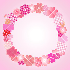 四つ葉のクローバー フレーム ピンク
