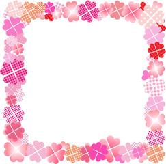 四つ葉のクローバー ピンク フレーム