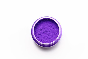 purple mica color pigments isolated on white background