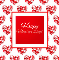 """Card with congratulation """"Happy Valentine's Day!"""" with red hearts pattern. Vector illustration. Romantic background in red color palette with hearts."""