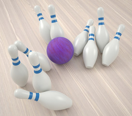 Bowling ball breaks tenpins, close up view