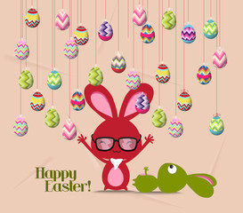 Happy easter card, colorful egg, rabbit