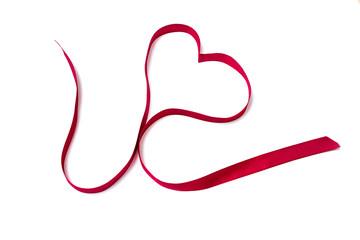 Red ribbon shape heart