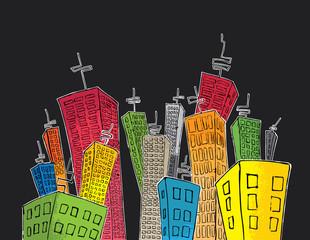 cartoon colored skyscrapers suburb