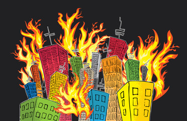 cartoon colored skyscrapers suburb catching fire