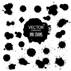 Vector collection of various ink splatter