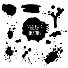 Vector collection of various ink splatter and grunge banner