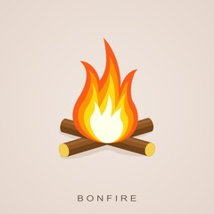 Bonfire with firewood. Fector Illustration