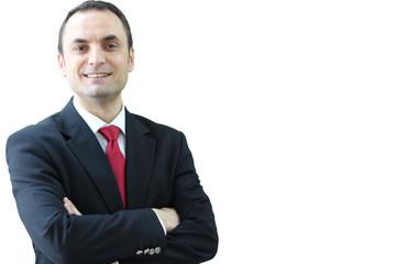 Turkish Male smiling isolated on white background.