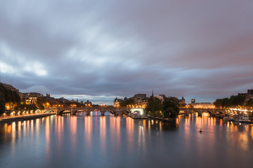 View of River Seine and Cite Island  in Paris, early morning