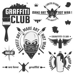 Set of vintage graffiti and street art  labels and design elements. Monochrome style.