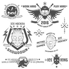 Set of vintage ice hockey emblems
