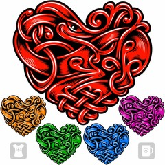 Vector set of celtic pattern in the shape of heart. Red, golden, green, blue and purple icons isolated on white background