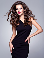 beautiful woman with long brown  hair and slim perfect body