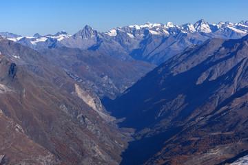 Amazing panorama of Swiss Alps and Zermatt Resort, Canton of Valais,  Switzerland