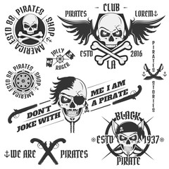 Set of vintage pirate emblems, tattoo, icon, tee shirt