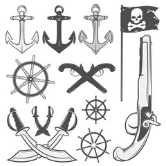 Set of vintage pirate elements, tattoo, icon, tee shirt
