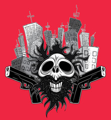 smiling skull with guns and skycrapers background
