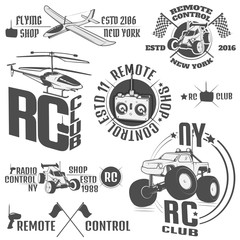 Set of radio controlled machine emblems,RC, radio controlled toys design elements for emblems, icon, tee shirt ,related emblems, labels