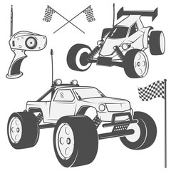Set of radio controlled toys design elements for emblems, icon, tee shirt ,related emblems, labels