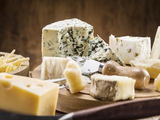Variety of cheeses. Vintage stiles.