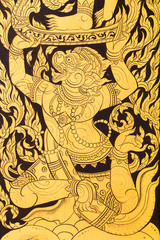 Antique painting on the door in temple in Thailand