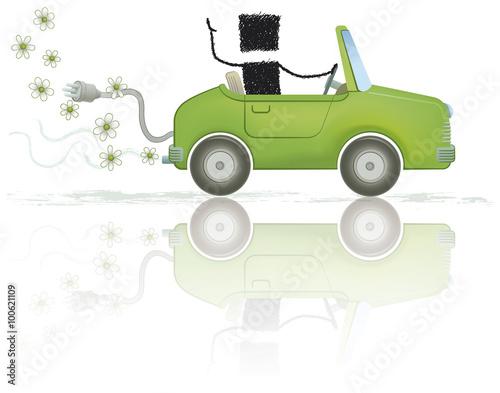 eco car illustration of a stick figure driving an. Black Bedroom Furniture Sets. Home Design Ideas