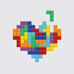 Valentines day card. Video game pixel colorful heart. Retro vintage design. Editable vector.