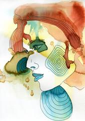 Papiers peints Inspiration painterly Akwarelowy portret kobiety