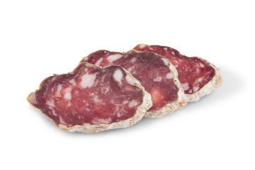 Slices of italian salami sausage on white background