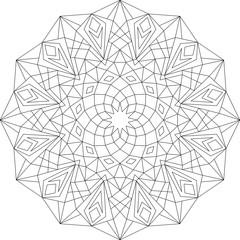 Mandala, Vorlage Malbuch für Erwachsene, Meditationshilfe, zur Ruhe kommen, Vektor