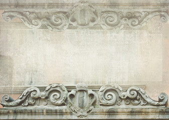 Architectural details. Fragment of ornate relief. Blank for flyers, messages, business cards.