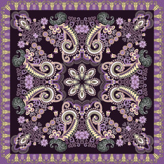 colorful bandanna decorated lilac  flowers and curls on a dark purple background