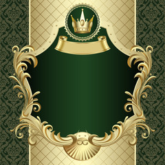 Vintage gold banner with a crown on dark green baroque backgroun