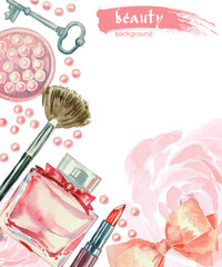 Watercolor cosmetics pattern. Hand painted  with make up artist objects: lipstick, blush, bow, key, perfumes, brushes. Vector beauty background