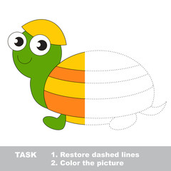 Turtle to be colored. Vector trace game.