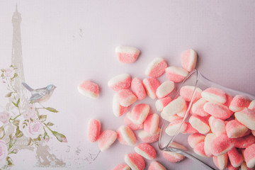 Fruit jellies  on the romantic pink background