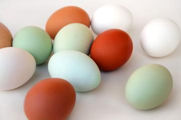 Weiße, grüne und braune Hühnereier